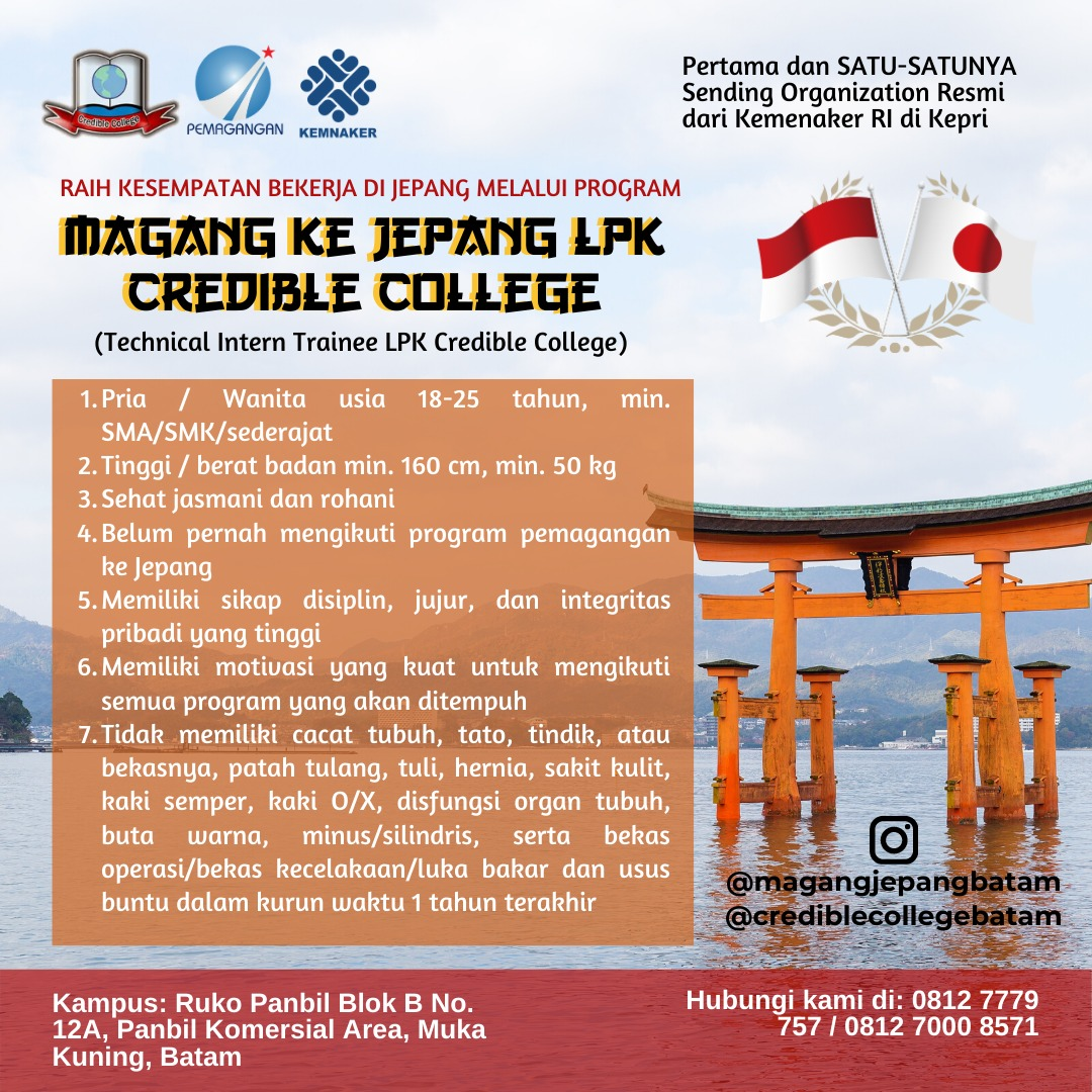 Program pemagangan ke Jepang credible college